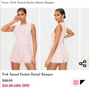 Pretty Little Thing Tweed Playsuit
